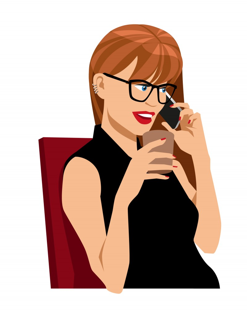 illustration femme téléphone