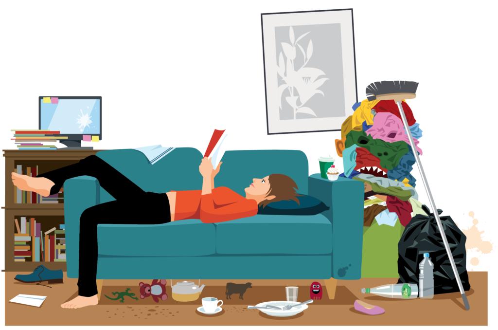 illustration décharge mentale femme canapé bazar