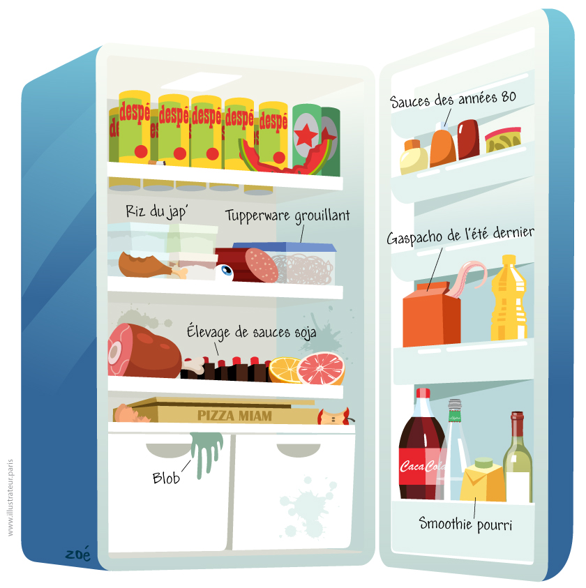 illustration frigo bureau