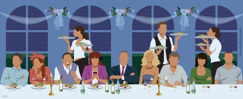 illustration mariage diner