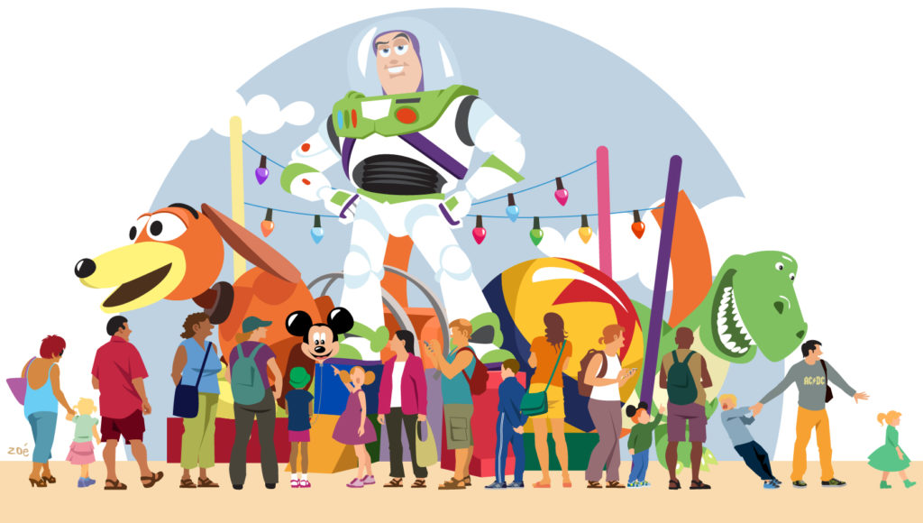 illustration toy story disney mickey personnages disneyland