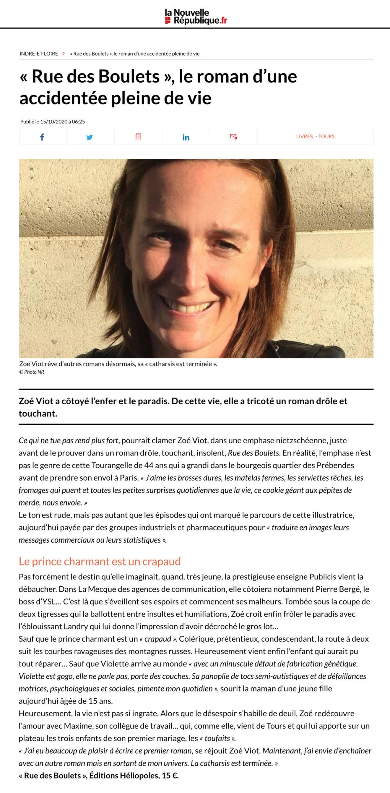 interview Nouvelle République Zoé Viot